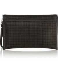 Karen Millen Black Perforated Clutch - Lyst