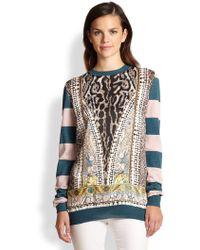 Just Cavalli Mixedprint Striped Wool Sweater - Lyst