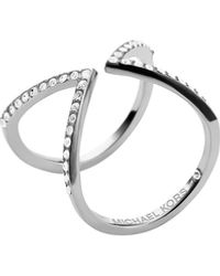 Michael Kors Open Arrow Pave Ring Silver Color 8 - Lyst