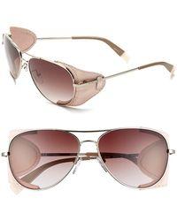 Furla Women'S 58Mm Aviator Sunglasses - Gold Coral/ Brown Flash Mirror - Lyst
