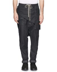 DRKSHDW by Rick Owens Drawstring Front Panel Pants - Lyst