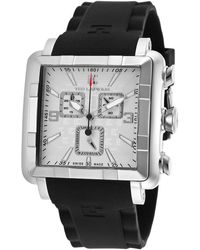 Ted Lapidus - Men's Chronograph Black Silicone Silver-tone Dial - Lyst