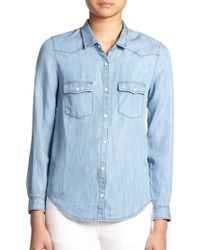 The Kooples Chambray Shirt - Lyst