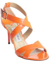 Jimmy Choo Neon Flame Patent Leather 'Louise' Strappy Sandals - Lyst