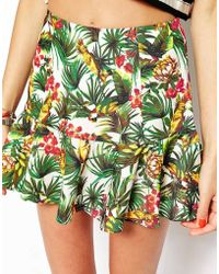 The Fifth Second Chance Skirt In Tropical Print green - Lyst
