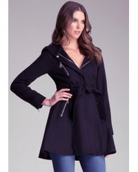 Bebe - Boucle Contrast Belted Coat - Lyst
