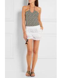 Prism - - Fringed Cotton-gauze Shorts - White - Lyst