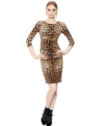 Dolce & Gabbana Leopard Printed Crepe De Chine Dress - Lyst
