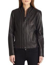 Elie Tahari Bella Leather Jacket - Lyst