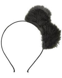 Topshop Double Faux Fur Pom Headband - Lyst