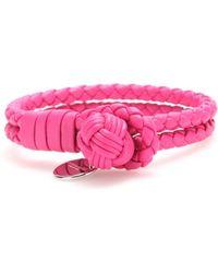 Bottega Veneta Knot Woven Leather Bracelet - Lyst
