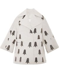 Honor Butter and Black Tulip Jacquard Tent Coat - Lyst
