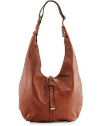 Halston Heritage Front-Closure Hobo Bag brown - Lyst