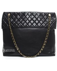 Chanel Pre-owned Lambskin Quilted Top Vintage Xl Tote Bag - Lyst