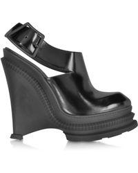 Kenzo Black Leather High Wedge Sandal - Lyst