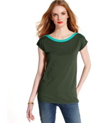 Tommy Hilfiger Capsleeve Buttonshoulder Colorblocked Top - Lyst