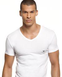 Emporio Armani Eagle V Neck T Shirt - Lyst