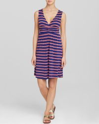 Macbeth Collection - Navy Red Print Swim Cover Up Dress With Crochet Detail - Lyst