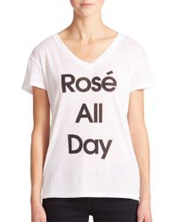 Wildfox 'RosÉ All Day' V-Neck Tee white - Lyst