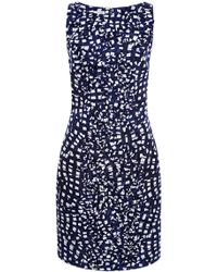 Oscar de la Renta Printed Ruffle-Detail Cloque Dress - Lyst