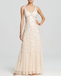 Sue Wong Sleeveless Double V-Neck Floral Embroidered Godet Gown  - Lyst