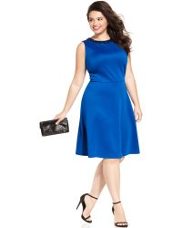 Spense Plus Size Beaded Skater Dress - Lyst
