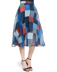DKNY Colorblock Quilted Midi Skirt - Lyst