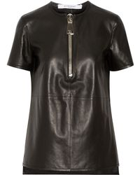 Givenchy Top In Black Leather With Zip Detail - Lyst