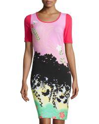 Love Moschino Short-Sleeve Garden-Print Dress - Lyst