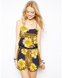 Asos Double Layer Cropped Cami in Patchwork Sunflower Print - Lyst