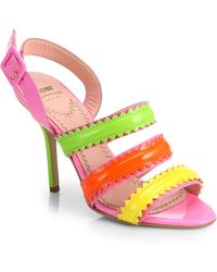 Moschino Cheap & Chic Zigzag-Striped Leather Sandals - Lyst