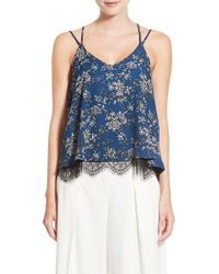 Chelsea28 Nordstrom | Floral Print Lace Hem Camisole | Lyst