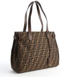 Fendi Brown Zucca Canvas Shopping Tote - Lyst