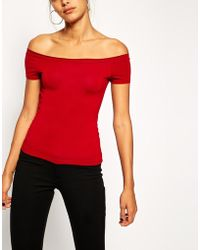 Asos Top with Bardot Neckline and Short Sleeve - Lyst