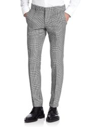 Alexander McQueen Houndstooth Cotton-Silk Trousers - Lyst