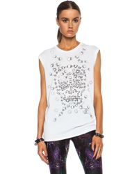 Alexander McQueen Ribbon Eyelets Muscle Cotton Tee - Lyst