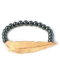 Leivan Kash Feather Hematite Bracelet - Gold - Lyst
