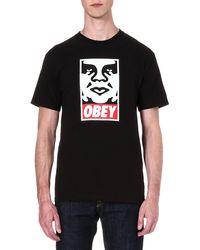 Obey Icon Face Tshirt Black - Lyst