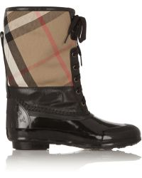 Burberry Shearling-lined Checked Cotton-twill and Rubber Boots - Lyst