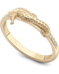 Theo Fennell - Seahorse Gold And Diamond Stack Ring - Lyst