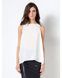 Patrizia Pepe Fluid Top with Pleats and Beads Behind - Lyst