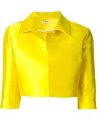 P.A.R.O.S.H. Cropped Silk-Blend Jacket - Lyst