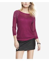 Express Rhinestud Embellished Open Mesh Sweater - Lyst
