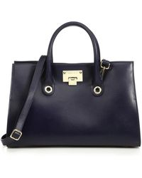 Jimmy Choo Riley Leather & Suede Tote blue - Lyst