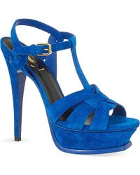 Saint Laurent Tribute Sandals In Suede - For Women - Lyst