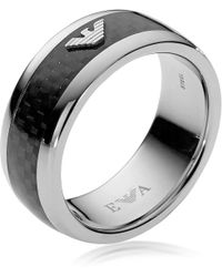 Emporio Armani - Iconic Carbon Fibre And Stainless Steel Men's Ring - Lyst