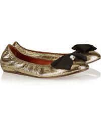 Lanvin Bow-Embellished Metallic Leather Ballet Flats - Lyst