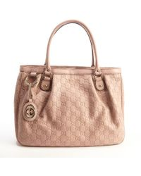 Gucci Petal Pink Leather Ssima Pattern Top Handle Tote - Lyst