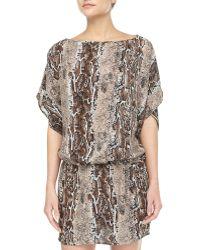Tolani Animalprint Silk Dress Brown Multi - Lyst