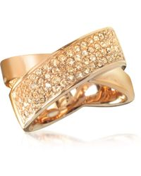 Michael Kors | Pave-crystal Twist Rose Golden Stainless Steel Women's Ring | Lyst